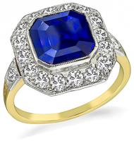 Vintage 3.52ct Sapphire 1.00ct Diamond Engagement Ring