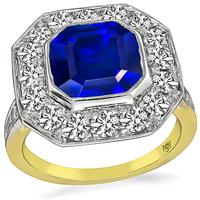 Vintage 3.69ct Sapphire 1.25ct Diamond Engagement Ring