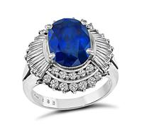 Estate 3.88ct Sapphire 1.09ct Diamond Ring