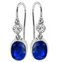 Estate 4.09ct Sapphire 0.28ct Diamond Earrings