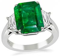 Estate 4.10ct Emerald 0.90ct Diamond Engagement Ring