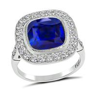 Estate 4.20ct Ceylon Sapphire 0.70ct Diamond Engagement Ring