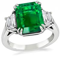 Estate 4.44ct Emerald 0.80ct Diamond Hand Made Engagement Ring
