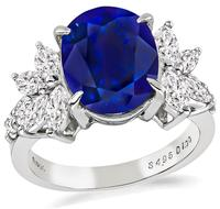 Estate GIA Cert 4.95ct Sapphire 1.00ct Diamond Engagement Ring