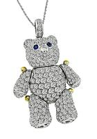 Estate 4.96ct Diamond Teddy Bear Pendant Necklace