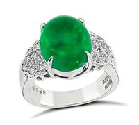 Estate 5.05ct Cabochon Emerald 0.35ct Diamond Ring