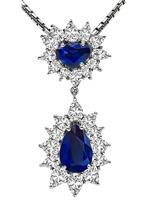 Estate 5.22ct Sapphire 4.50ct Diamond Pendant Necklace