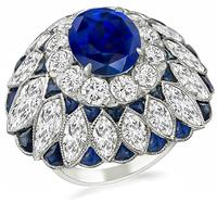 Estate 5.49ct Sapphire 10.00ct Diamond Cocktail Ring