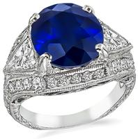 Estate 6.22ct Sapphire Diamond Engagement Ring
