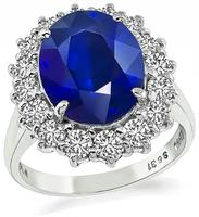Estate 6.31ct Sapphire 1.00ct Diamond Engagement Ring