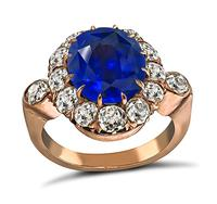 Victorian 6.45ct Sapphire 1.80ct Diamond Engagement Ring