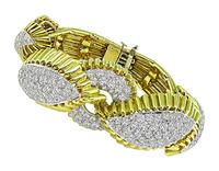 Estate 8.00ct Diamond Gold Platinum Bracelet