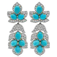 Estate 8.00ct Diamond Persian Turquoise Day and Night Earrings