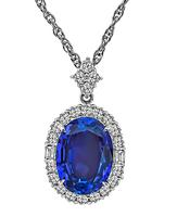 Estate 8.04ct Tanzanite 0.85ct Diamond Pendant Necklace