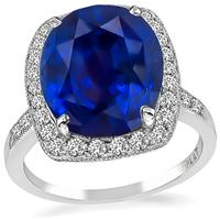 Estate 9.01ct Sapphire 0.60ct Diamond Engagement Ring