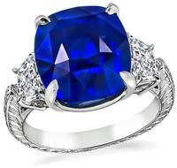 Estate 9.06ct Sapphire 1.00ct Diamond Engagement Ring