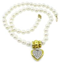 Estate Chimento Pearl 0.90ct Diamond Heart Pendant Necklace