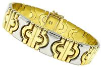 Estate Bvlgari Style Two Tone Gold Bracelet