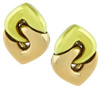 Estate Bvlgari Two Tone Yellow and Pink Gold Earrings