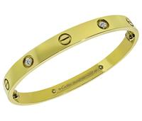 Estate Cartier 4 Diamond Yellow Gold Love Bangle