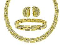 Estate Cartier 12.00ct Diamond Gold Necklace Bracelet and Earrings Set