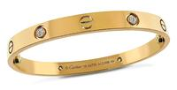 Estate Cartier 4 Diamond Pink Gold Love Bangle