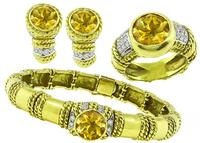 Estate Cassis 20.00ct Citrine 1.25ct Diamond Jewelry Set