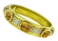 Estate 30.00ct Citrine 1.00ct Diamond Gold Bangle