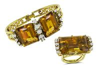 Vintage 90.00ct Citrine 3.00ct Diamond Bangle and Ring Set