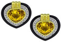 Estate 15.00ct Citrine 0.90ct Diamond Onyx Heart Earrings