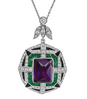 Art Deco Style 15.00ct Amethyst 2.00ct Diamond Pendant Necklace
