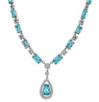 Estate 2.47ct Diamond 29.92ct Blue Quartz Necklace
