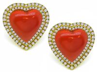 Estate Coral 0.75ct Diamond Heart Earrings
