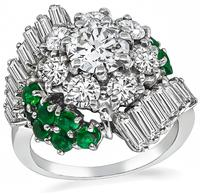 Estate 0.80ct Center Diamond 1.10ct Side Diamond 0.70ct Emerald Cocktail Ring