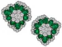 Estate Emerald Diamond Earrings