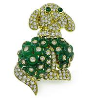 Estate 5.00ct Diamond Emerald Bead Gold Dog Pin/Pendant