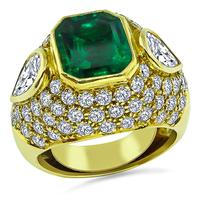 Estate 3.50ct Colombian Emerald 3.00ct Diamond Gold Ring