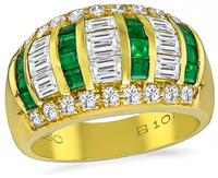 Estate 1.48ct Diamond 0.60ct Emerald Ring