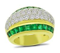 Estate 1.40ct Emerald 1.25ct Diamond Gold Ring