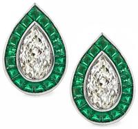 Estate 4.20ct Diamond Emerald Pear Shape Earrings