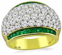 Estate 3.17ct Diamond 1.01ct Emerald Gold Ring
