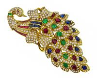 Estate 9.29ct Emerald Ruby Sapphire 4.53ct Diamond Peacock Pin