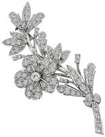 Estate 3.00ct Diamond Flower Pin