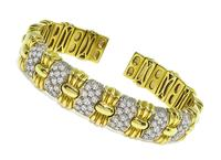 Estate 3.50ct Diamond Gold Bangle