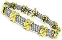 Estate 4.00ct Diamond Two Tone Gold Bracelet