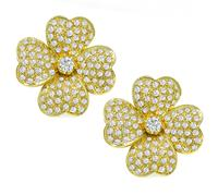 Estate 4.00ct Diamond Gold Flower Earrings
