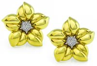 Estate 0.40ct Diamond Gold Flower Earrings