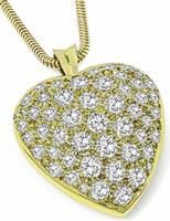 Estate 4.00ct Diamond Gold Heart Pendant Necklace