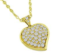 Estate 5.00ct Diamond Gold Heart Pendant Necklace