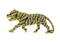 Estate 1.25ct Diamond Enamel Panther Pin / Pendant